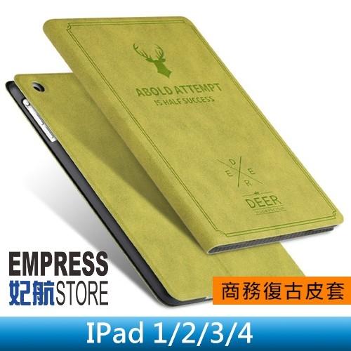 【妃航】iPad 2/3/4 鹿頭 鄉村風 復古/帆布紋 超薄 二折/支架/止滑 休眠/喚醒 平板 皮套/保護套