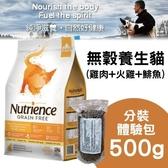 *WANG* Nutrience 紐崔斯 無穀養生貓-雞肉+火雞+鯡魚500g/分裝體驗包 貓飼料