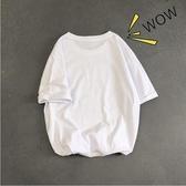夏季純白五分袖男簡約百搭上衣服男短袖t恤男潮流寬鬆半袖 【快速出貨】