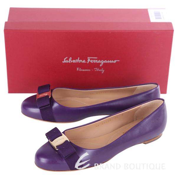 Salvatore Ferragamo VARINA 蝴蝶結飾牛皮娃娃鞋(紫色) 1320207-04