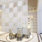 懸掛式薄款塑料屏風雕花隔斷現代簡約鏤空玄關簾客廳餐廳窗戶窗花六片組合裝晶彩生活
