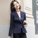西裝外套 格子西裝女春裝新款韓版大碼外套修身一粒扣職業小西服潮 3c公社