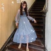 春裝2019新款韓版小清新網紗連身裙女網紅法國小眾雪紡A字裙長裙