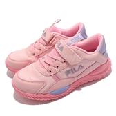 Fila 童鞋 J809V 粉紅 紫 中大童鞋 女童 女鞋 魔鬼氈 復古運動鞋 慢跑 【ACS】 3J809V599