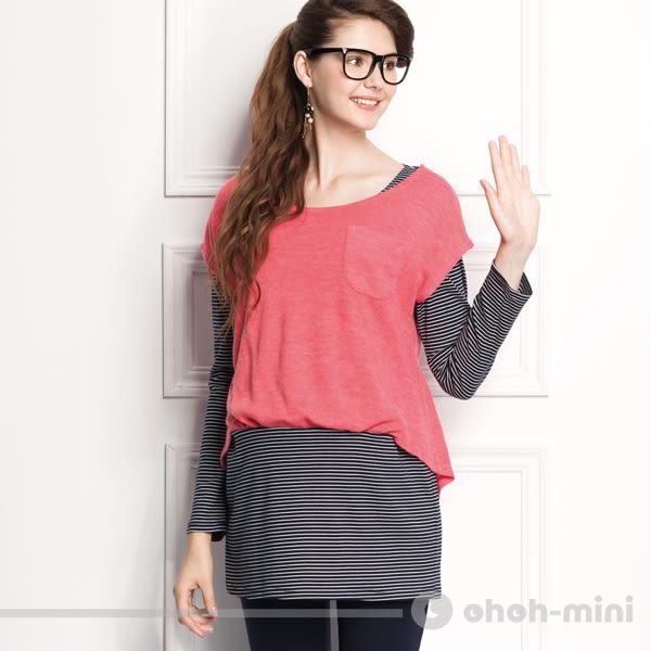 【ohoh-mini 孕婦裝】隨性配色假兩件孕婦長版上衣