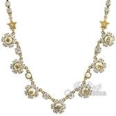 茱麗葉精品【全新現貨】Christian Dior CD LOGO珍珠水鑽造型鎖骨鍊.金