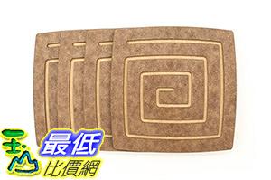 [106 美國直購] Epicurean 019-04040301-4 美國製 杯墊 Coasters, 4-Inch by 4-Inch, Nutmeg/Natural, Set of 4