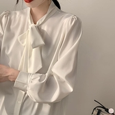 白色雪紡襯衫女長袖春秋裝上衣蝴蝶結職業襯衣系帶【大碼百分百】
