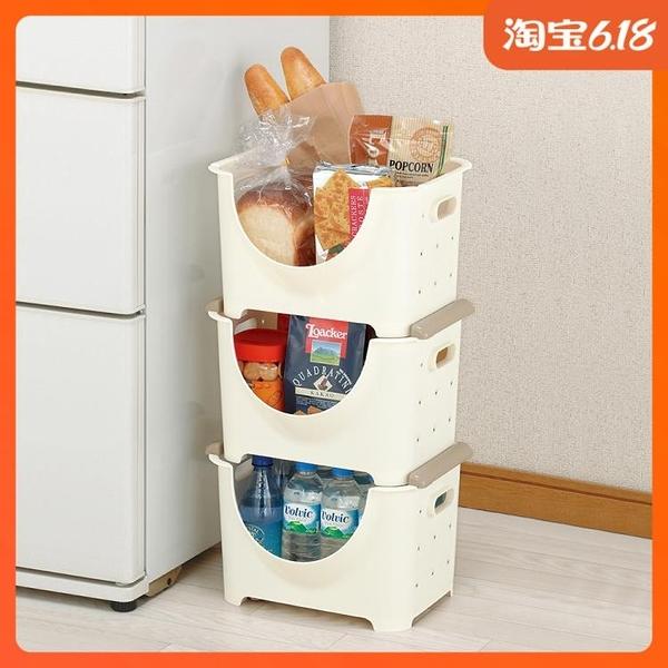 尺寸超過45公分請下宅配日本進口家居收納用品單層疊加整理筐塑料果蔬箱收納箱水果收納筐