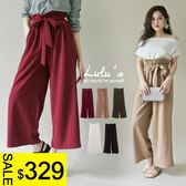 LULUS特價-Y-寬腰帶鬆緊寬褲-附綁帶-5色  現+預【04051384】