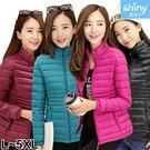 【V9136】shiny藍格子-美冬時尚.輕薄保暖羽絨短款棉襖外套