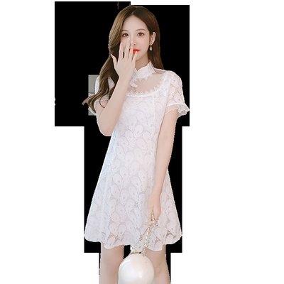 裙子 洋裝 宴會裙實拍 短袖連衣裙夏季蕾絲改良旗袍小清新法式裙子女T613.8008皇朝天下