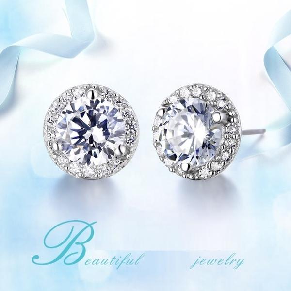 耳環 璀璨華麗經典鋯石滿鑽 925銀針 耳環