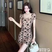 修身洋裝 法式方領減齡裙子洋氣矮個子顯瘦顯高緊身印花短袖連身裙女夏新款 曼慕