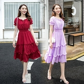 長裙 時尚氣質潮一字領法式小眾復古修身顯瘦拼接長款洋裝 夢露