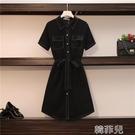 襯衫洋裝 大碼女裝2020夏裝新款胖妹妹mm氣質顯瘦襯衫裙遮肚子小黑裙連衣裙 韓菲兒
