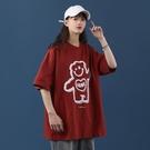 紅色短袖t恤女潮ins夏裝2021年新款女裝寬鬆韓版夏季純棉半袖上衣 依凡卡時尚