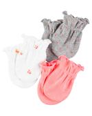 【美國Carter's】純棉嬰兒手套3入組 - 哈囉小寶貝系列 126G510