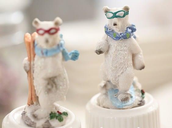 【協貿國際】北極熊滑雪熊動物樹脂擺件(5入)