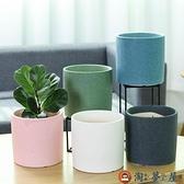 家用圓形花盆陶瓷家居室內落地桌面綠蘿蘭花盆【淘夢屋】