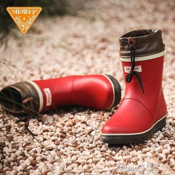 Jolly Walk/非常行雨鞋女短筒成人雨靴時尚防水鞋女士橡膠雨鞋9/11