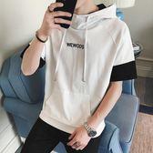 夏季百搭男學生正韓潮流bf寬鬆5分袖帶帽t恤男生短袖衛衣連帽薄款三角衣櫥