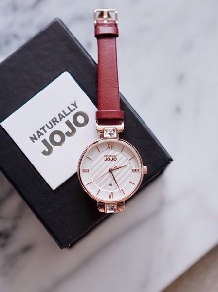 NATURALLY JOJO 玫瑰金格紋 手錶 JO96972-15R 紅色/34mm