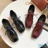方頭鞋 復古漆皮方頭低跟小皮鞋女英倫風2019秋季新款ins潮正韓百搭單鞋