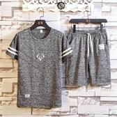 0套裝夏季時尚冰絲寬鬆潮流新款短褲男五分褲夏天薄款短袖T恤『潮流世家』