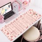 粉色快捷鍵大全桌墊超大滑鼠墊子辦公女電腦鍵盤軟可愛男卡通小PS 好樂匯