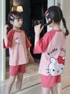 女童睡衣夏季純棉短袖薄款中大童女孩家居服超萌卡通兒童睡衣套裝