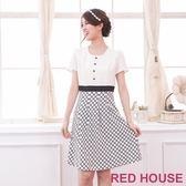 【RED HOUSE-蕾赫斯】單排釦滿版花朵裙洋裝(共二色) 滿2000元現抵250元