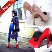 超高跟12cm女鞋子歐美秋季尖頭防水臺細跟女鞋子單鞋紅色婚鞋 千千女鞋