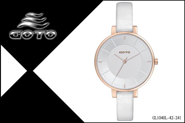 【時間道】[GOTO。錶]簡約有秒針時尚腕錶/白面玫瑰金殼白皮(GL1040L-42-241)免運費
