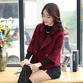 毛呢大衣-短款時尚修身翻領七分袖女風衣外套2色73ki23【巴黎精品】
