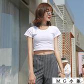純棉短袖t恤女短款露臍  短版上衣