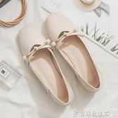 低跟鞋 年春季方頭淺口低跟平底晚晚風溫柔仙女淑女單鞋女夏百搭 爾碩 雙11