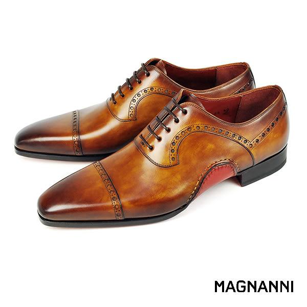 【MAGNANNI】翼紋雕花牛津紳士皮鞋 棕色(15488-CUE)