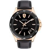 Scuderia Ferrari Pilota 飆風再起手錶-黑x玫塊金框/43mm FA0830522