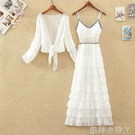 雪紡吊帶裙長裙兩件套女夏新款設計感季層層蛋糕裙過膝洋裝套裝 蘿莉新品