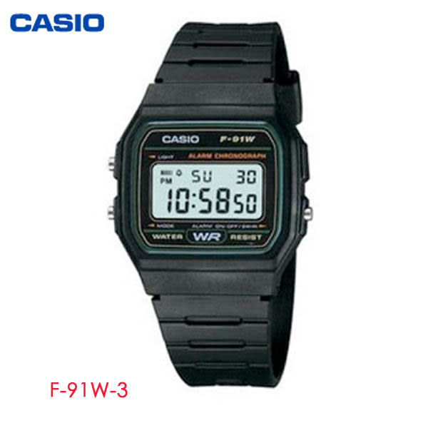 CASIO 黑綠輕薄方形輕便電子錶 F-91W-3 學生錶 當兵軍用錶 工作錶 公司貨保固1年 | 高雄名人鐘錶