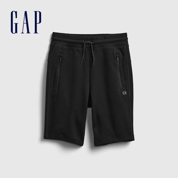 Gap男童 基本款拉鍊口袋運動短褲 669887-黑色