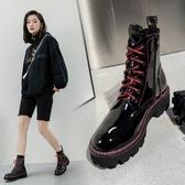 大尺碼真皮女鞋34~41 2020帥氣百搭頭層牛漆皮亮面繫帶圓頭中跟馬丁靴 短靴子~2色