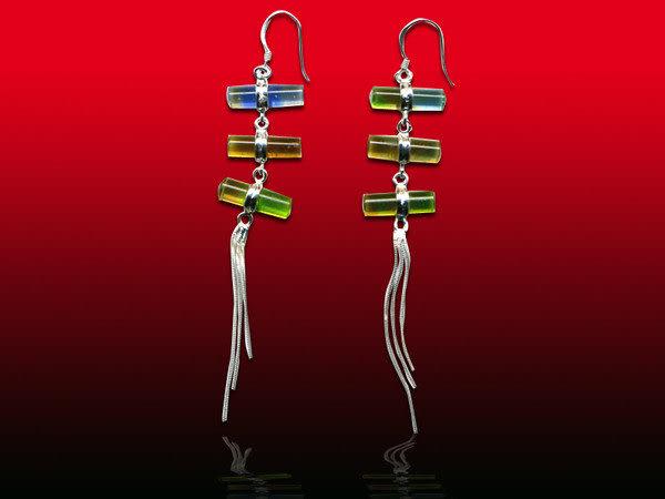 鹿港窯~開運古法水晶琉璃銀飾耳環~三生緣◆附精美包裝◆免運費送到家