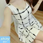 【V1014-6】shiny藍格子-瑕疵特賣.多款樣式圓領腰身背心連身裙