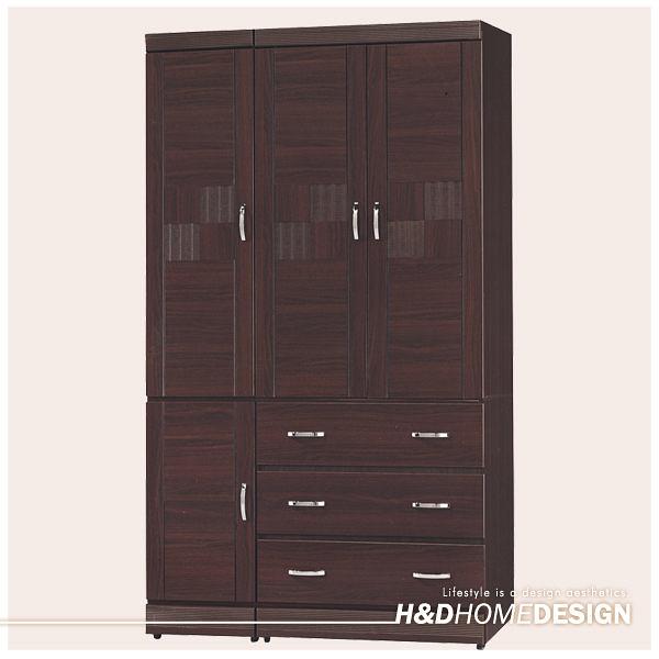 艾菲爾4x7尺胡桃衣櫥(20YS2/222-471)/H&D東稻家居