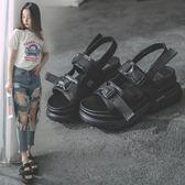 鬆糕厚底涼鞋女夏新款韓版百搭羅馬鞋坡跟高跟學生增高女鞋子  野外之家