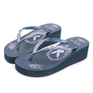 PLAYBOY 復古美型 夾腳厚底拖鞋-藍(YT707)