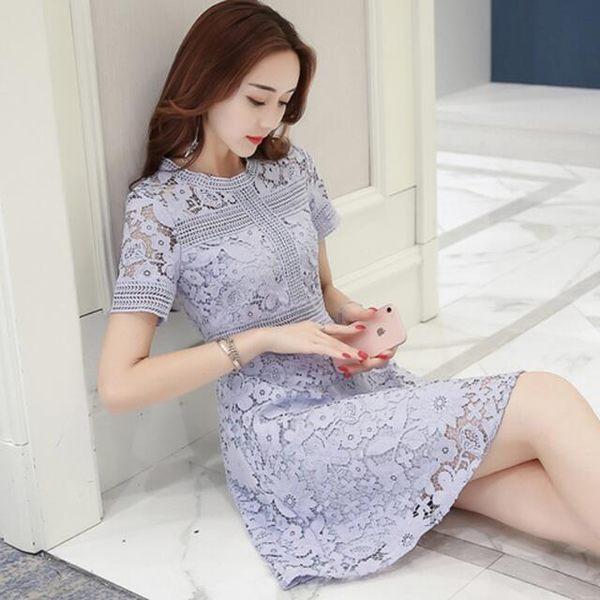 洋裝 蕾絲短袖  婚禮小禮服 韓版 派對 春季連身裙 花漾小姐【現+預】