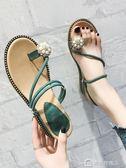 涼拖鞋女夏外穿百搭時尚坡跟中跟夾趾ins潮人字拖鞋 美斯特精品